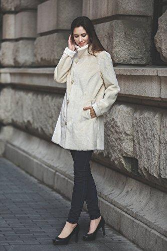 Adelaqueen Großartiger Kunstwildleder Faux Fur Damenmantel mit Blumenmutster Umkehrbarer Mantel Elfenbein