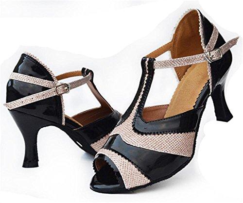 sandali donna salsa latin samba tango ballroom pelle scamosciata soft soles fibbia t-strap dance shoes nero A