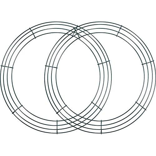 Sumind 2 Pack Wire Wreath Frame Wire Wreath Making Rings Green for New Year Valentines Decoration (14 Inch) (Kranz Valentine Diy)