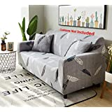 House of Quirk Universal Triple Seater Sofa Cover Big Elasticity Cover for Couch Flexible Stretch Sofa Slipcover - Grey Fern(185-230cm)