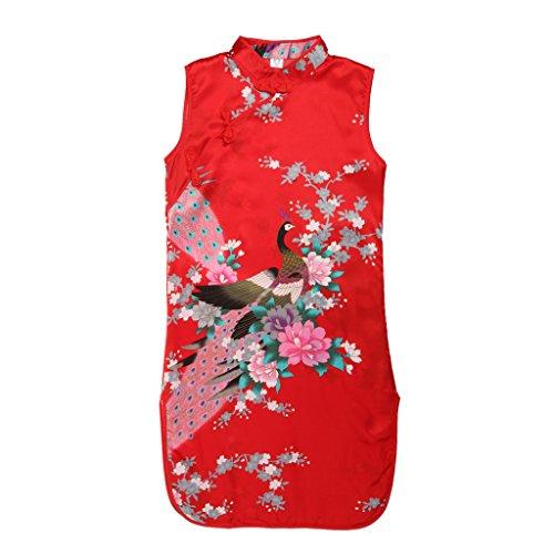Zwei Kostüm Element - Generic Kinder Mädchen Qipao Cheongsam Geisha Kostüm Partykleider Asia Kinder Qipao - Rot Knöpf, 2