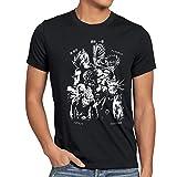 CottonCloud Anime Heroes Herren T-Shirt One Superhelden Goku Luffy Saitama Piece, Größe:L;Farbe:Schwarz