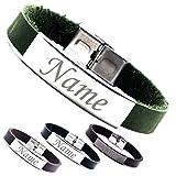 Personalisierbare Armbänder | Armband Leder mit Gravur | Personalisiertes Armband aus PU Leder | Armband mit Wunschgravur