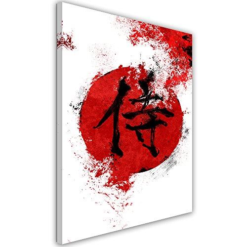 Feeby. Cuadro en Lienzo - 1 Parte - 50x70 cm, Imagen impresión Pintura decoración Cuadros de una Pieza,Kanji Samurai - Nikita Abakumov, JAPÓN, Rojo, Kanji