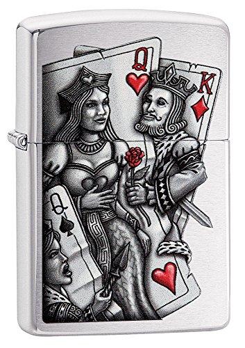 Zippo King and Queen Mechero de Gasolina, latón, Aspecto de Acero Inoxidable, 1x 6x 6cm