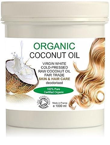 BIO Huile de Noix de Coco Extra Vierge Organique 1000 ml 100% Pure, sans odeur Hydratant Facial - Corps - Cheveux Première pression à froid