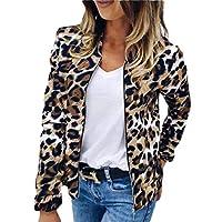 GAGA Women Bike Bomber Leopard Print Jacket Zip up Casual Fall Outerwear Coats 1 L