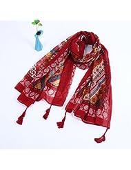 ZLL Bufandas étnicas Vintage las señoras, bufanda de sol del cabo , big red cotton