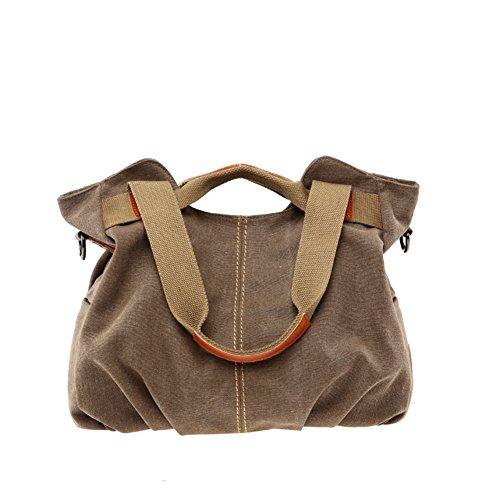 Ladies singola borsa a tracolla,borsa di tela,portatile/messenger bag-nero marrone