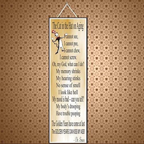 CELYCASY Lustiges Schild mit goldfarbenem Hintergrund und lustigem Dr. Seuss Gedicht zum Altern von Senior, PM232 (Dr Seuss Hintergrund)