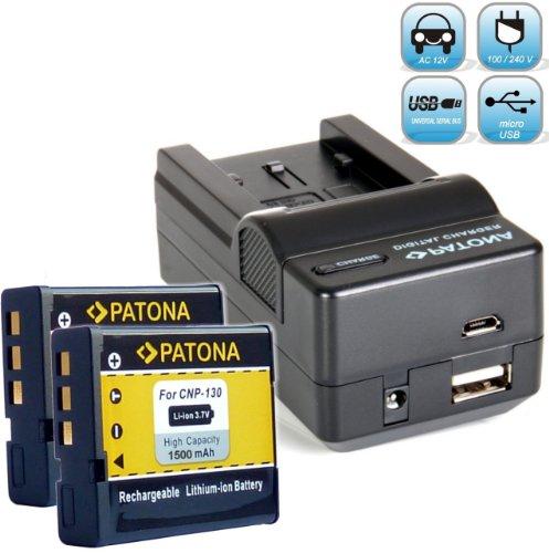 Bundlestar Akku Ladegerät 4 in 1 für Casio NP-130 + 2x PATONA Ersatzakku für Casio NP-130 Casio Exilim EX H30 ZR800 ZR710 ZR700 ZR400 ZR300 ZR200 ZR100 usw -- mit Auto-Adapter, Netzstecker deutsch, USB und -- NEUHEIT mit Micro USB Anschluss !