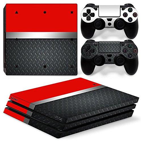 46 North Design Ps4 Pro Playstation 4 Pro Pegatinas De La Consola Red Metal + 2 Pegatinas Del Controlador 51Wu4h3Kp1L