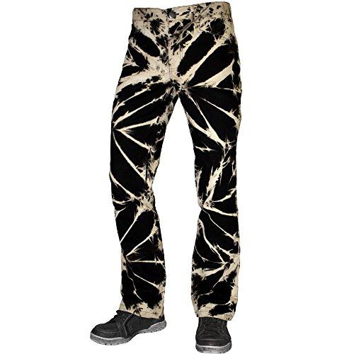 Jeans Tie Dye Hose schwarz beige im Straight-Fit-Style (Tie-dye-bleach)