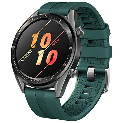 Correa para Reloj Huawei GT Smartwatch 22mm /46mm para La Muñeca con Correa De Reloj De Silicona De Repuesto Correa Deportiva De Silicona (Verde Militar 46mm)