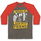 Inspired Apparel Inspiriert durch Palma Violets Best of Friends Inoffiziell 3/4 Hulse Retro Baseball T-Shirt, Grau & Hellrot, 2XL
