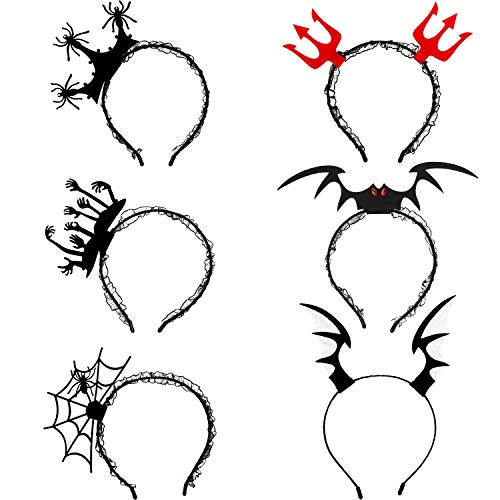 Kostüm Zu Machen Cosplay Einfach Mädchen - SAVITA 6 Stück Halloween Stirnbänder Halloween Haarreif Spinnennetz Fledermau Flügel Form für Halloween Party Kostümbedarf
