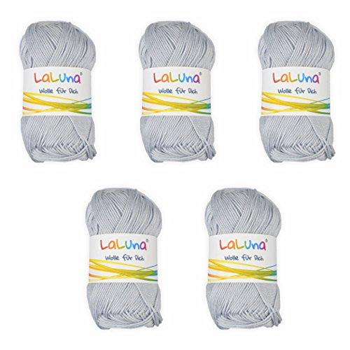 5er Pack Basic Wolle grau 100% Baumwolle 250g, Strick und Häkelgarn der Marke LaLuna® - Grau Wolle