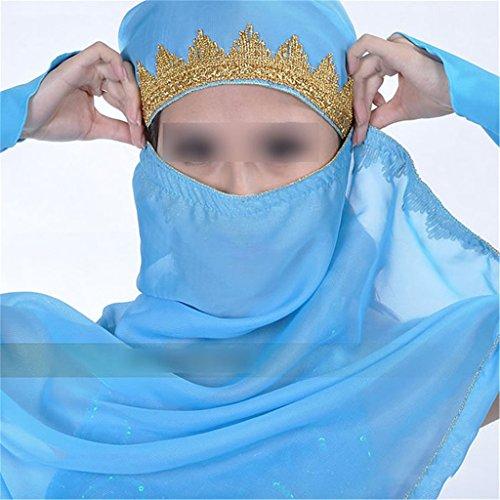 Beliebt Modisch Chiffon Bauchtanz-Kostüm Tanzbekleidung Umhangtuch Schleier Mantilla Schal Hellblau (Modische Tanzbekleidung)