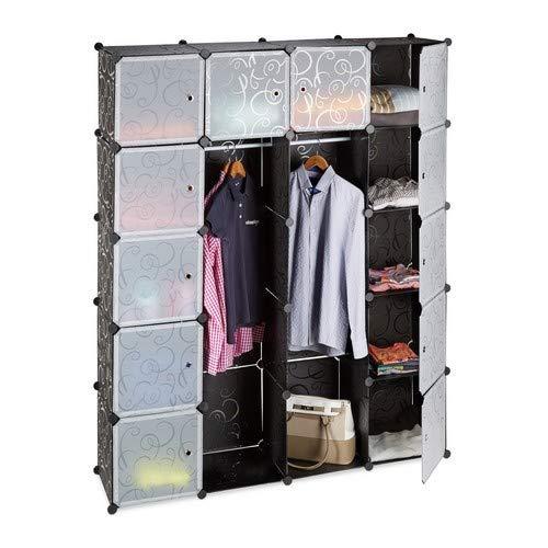 Relaxdays 10021971_46 cabina armadio componibile, plastica, guardaroba con 2 bastoni appendiabiti e 14 scomparti, nero