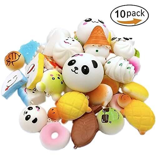 juguetes kawaii UClever 10 Piezas Kawaii Jumbo Mini Squishy Alimentos Simulados Suave Blandos Panda pan Pastel Bollos Colgantes Llaveros Teléfono Cadena Alimentaria Correas Accesorios Adornos