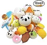 UClever 7stk Weiche Squishy Spielzeug Charme kawaii Lebensmittel Squishies Kuchen Panda Brot Brötchen Handy-Charm-Schlüssel Kette Gurt