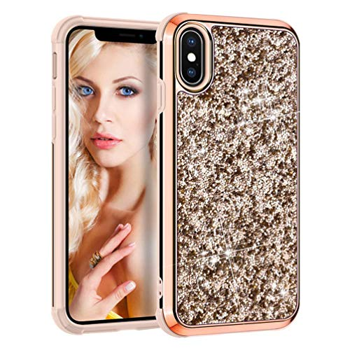 Coque iPhone Xs Max Paillette, Coollee Housse Etui Anti-Choc Glitter Strass Brillante Bling Luxe Femme 360 Protection Housse Dur INTEGRAL Ultra Mince Case pour Apple iPhone Xs Max 2018 6.5\