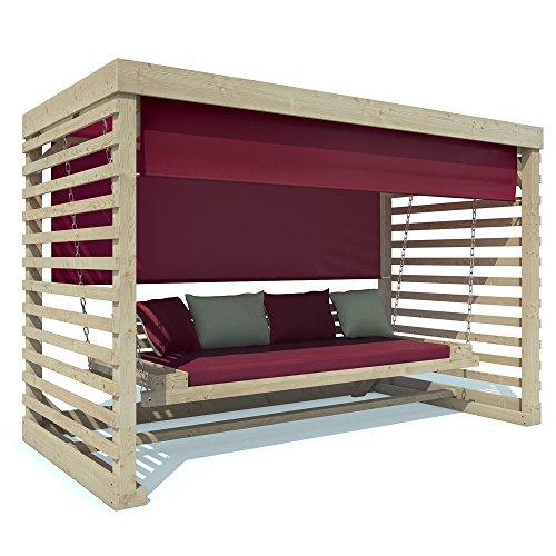 Hollywoodschaukel Tiffany Holz Gartenschaukel Schaukelbank Gartenmöbel 4-Sitzer (Auflagen in cherry)