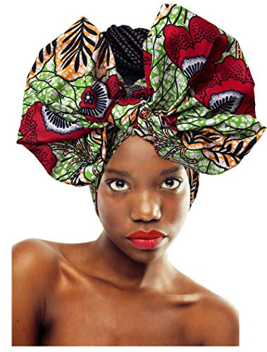 keland Afrikanische Frauen Druckkopf gewickelt Kopftuch Kopfbedeckungen Schal Krawatte Haarschmuck (004) (Zu Schals Binden Wie)
