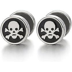 Pendientes de acero inoxidable con diseño pirata