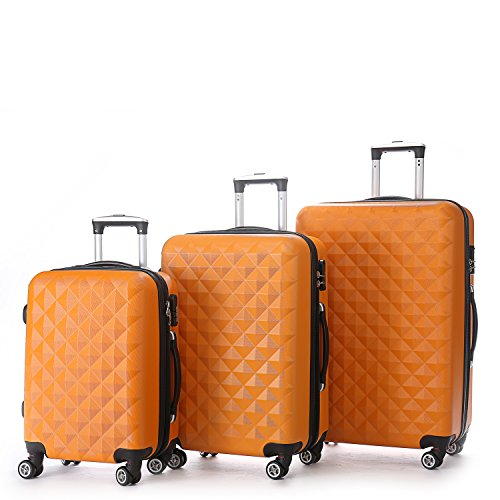 Zwillingsrollen 2066 Hartschale Trolley Koffer Reisekoffer Reisekoffer Gepäck M-L-XL-Set in 14 Farben (Orangen, Set)