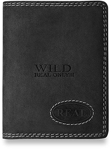 bf30cb85643738 handliche kleine Geldbörse für Herren Naturleder WILD REAL ONLY (schwarz)  schwarz