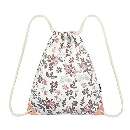 Leapop Unisex Turnbeutel Segeltuch Sporttaschen Gymsack, Hipster Niedlich Drucken Pattern Beutel Sportbeutel Tasche Tüte Rucksack mit Innentasche (Blumen Schmetterling)
