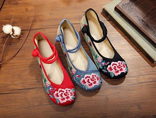 &QQ Fleur de pivoine chaussures brodées, lin, semelle de tendon, style ethnique, chaussures féminines, mode, confortable Light Blue