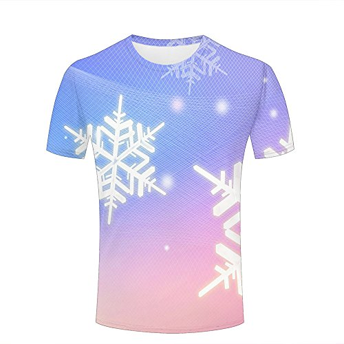 Herren T-Shirt 3D Print Gradient - Beautiful Snowflakes Short Sleeve T-Shirts Top for Summer Casual Round Neck Couple Tees Tops L