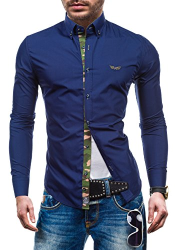 BOLF Langarm Herrenhemd Hemd Figurbetont Freizeit Slim Fit BY MIRZAD 6850 Dunkelblau