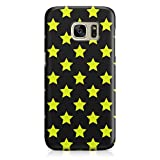 Cover Custodia Protettiva Case Stars Stelle Giallo Nero Pattern Texture Moda Classe Design Made in Italy Compatibile con Samsung Galaxy S6 Edge, S7, S7 Edge, S8, S8+, Note 8