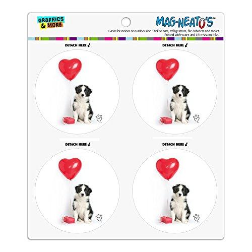 Border Collie Hund Herz Valentines Love Kühlschrank Kühlschrank Locker Vinyl Kreis Magnet-Set (Collie Hund-magnet)