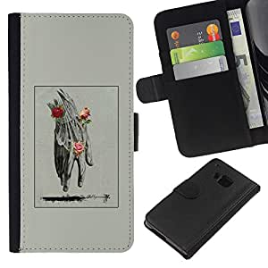 EJOY---Raccoglitore di vibrazione Custodia in pelle Premium Custodia protezione PU / HTC One M7 / --Mano Uomo Primavera Deep Rose Significato