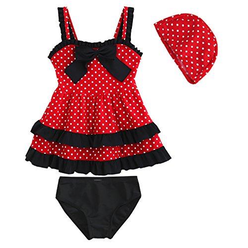 KVbaby Mädchen Zwei Stück Bikini Set Badeanzüge Polka Dots Rüschen Bademode Strand Schwimmanzug Mit Hut (Mädchen Mit 2 Rüschen Stück Badeanzug)