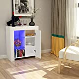 Tuff Concetps High Gloss Sideboard Storage Cabinet with RGB LED Lighting Living Room Dining Room Furniture Cupboard (Type B White)