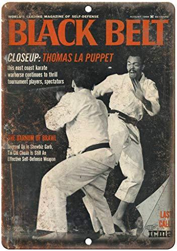 Black Belt Magazine Karate Metall Blechschild Retro Metall gemalt Kunst Poster Dekoration Plaque Warnung Bar Cafe Garage Party Game Room Hauptdekoration