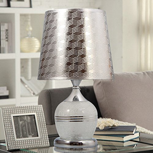 CLG-FLY Lampada lampione da giardino lampada da comodino camera da letto caldo e creativo tavolo lampada moderna semplicità vetro tavolo lampada Argento