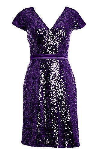 MACloth 2016 Women Cap Sleeve Sequin Short Bridesmiad Dress Cocktail Party Gown Violett