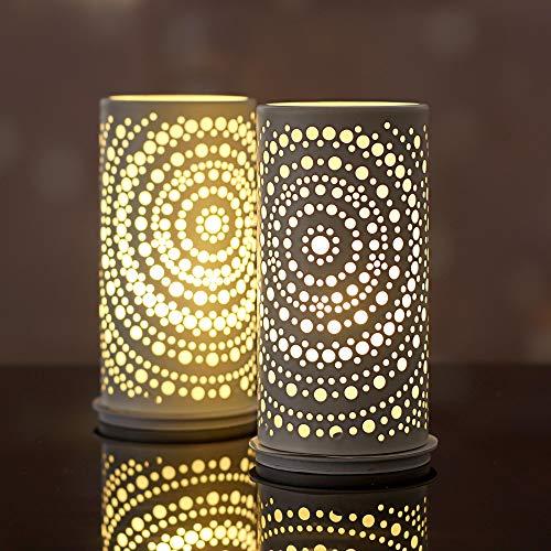 Produktname: Duni Billy Kerzenhalter weiß 14 x 6,5 cm - Metall Kerzenhalter 4 Stück