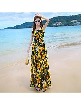 Meng Wei Shop Nueva ropa de mujer de verano vestido de chifón tirantes falda maxi bohemia falda playa de playa...