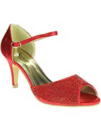 Mujer Señoras Diamante Peep Toe Correa de tobillo Tacón alto Noche Fiesta Nupcial Boda Paseo Sandalias Zapatos Tamaño