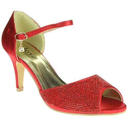 Donne Le Signore Diamante Peeptoe Cinturino alla Caviglia Tacco alto Sera Festa Nuziale Nozze Ballo di fine anno Sandali Scarpe Taglie Rosso
