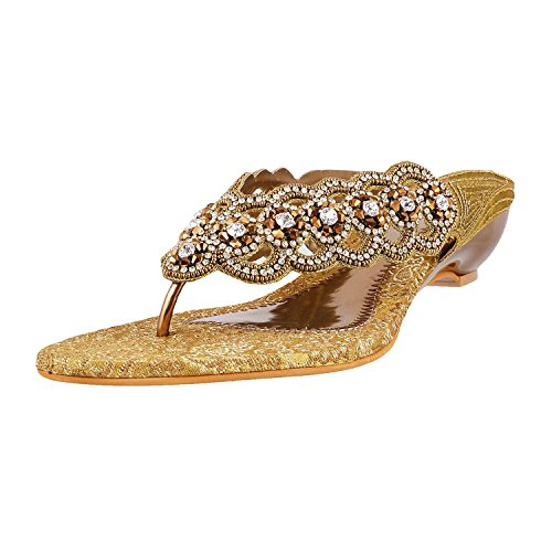 Mochi Women Antic-Gold Occasional Slip Ons image