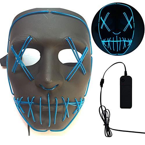 (REFRIY Spülen Halloween Maske, LED Leuchten Maske, Lustige Horror Masken Cosplay Ideal Für Festival Cosplay Kostüm Parteien (Blau),Blue)
