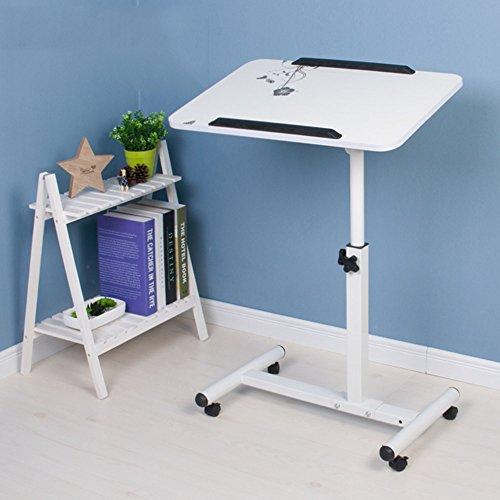 WJQSD Laptop Tischcomputer Roll-Laptop-Schreibtisch Mobile Stand Up Desk Work Station Rollwagen Abnehmbar Verstellbares Haushaltsbett Kleiner Schreibtisch, 56 * 62 cm Multifunktionaler Klapptisch für -